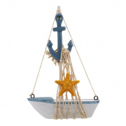 MagiDeal Mini Handmade Wood Anchor Sailboat Ship Home Bookshelf Table Showcase Decor Coastal Scene 1