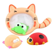Swimming Floating Bath Toy,Byste Shower Funny Accompany Gift Set,Kitten Fishing Nets+Frogs+Piglets