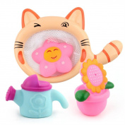 Swimming Floating Bath Toy,Byste Shower Funny Accompany Gift Set,Kitten Fishing Nets+Shower Toy+Sunflower