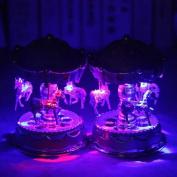 Kicode Emitting Horse Carousel Music Box Toy with Light Romantic Clockwork Musical Boxes Vintage