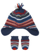 M & Co Baby Boy Navy And Red Texture Stripe Knit Fleece Lined Trapper Hat And Mitts Set