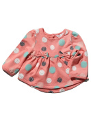 M & Co Baby Girl Pink Pure Cotton Rib Trim Long Sleeve Spot Print Bow Applique Smock Style Sweat Top