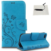 iPhone 5/iPhone 5S/iPhone SE Leather Wallet Case,TOCASO Folio Leather Wallet Case with [Kickstand][Card Slots][Magnetic Closure] Flip Notebook Embossed Butterfly Solid Colour Flower Leather Case for iPhone 5/iPhone 5S/iPhone SE-Blue