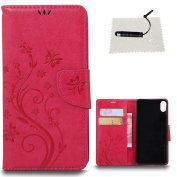 BQ Aquaris X5 Leather Wallet Case,TOCASO Folio Leather Wallet Case with [Kickstand][Card Slots][Magnetic Closure] Flip Notebook Embossed Butterfly Solid Colour Flower Leather Case for BQ Aquaris X5-Rose Red