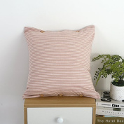Baozengry Square Pillow Cotton Sofa Bed Car,45X45Cm[Pillowcase Feather Velvet Pillow,Stripe [Pink]