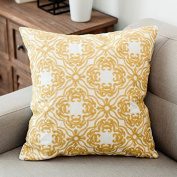 Baozengry The Living Room Sofa Pillow Cotton Embroidery Geometric Office,45*45 (With Thickened Enlarged Core),F- Hollow Embroidery