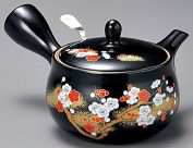 Yamakiikai Black Kyusu (Japanese teapot) Red and White plum poypoi with strainer 250cc FM424 from Japan