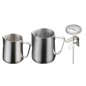 MagiDeal 2Pieces Stainless Steel Coffee Frothing Milk Tea Latte Jug Scale+Thermometer