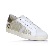 D.A.T.E. - Platinum and white shoe made of leather and split leather, lateral zipper, Child, girl, womana-11.5 Child UK