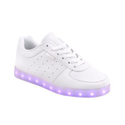Raffie's, white LED sneakers size 42 with 7 different colour LED lights in the sole. The shoes are rechargeable with the included USB charging cable.