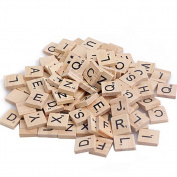 100Pcs/Set Black Letters Numbers Wooden Standard Scrabble Tiles for Crafts Toy