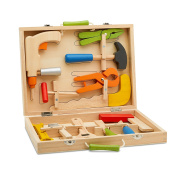 Top Race 12 Piece Tool Box, Solid Wood Tool Box with Colourful Wooden Tools, Construction Toy Role Play Set TR-W300