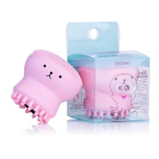 Cute Pink Octopus Facial Washing Brush Silicone Hand Face Wash Bubble Cleanser Powder Puff Brush