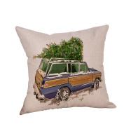 LEvifun Merry Christmas Pillow Case Xmas 18 x 18 Cushion Cover Car Tree Merry Chritmas Home Decor Design Throw Pillow Cover Pillow Case 46cm x 46cm Flax Cotton Linen for Sofa