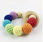 baby tete Colourful Crochet Beads Baby Wooden Ring Teething Beads Baby Safe And Nature Nursing Bracelet Montessori Toys Baby Organic Rattle