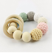baby tete Original Wooden Beads Teether Baby Crochet Rattles Mom Nusring Accessories Infant Classic Sensory Toy Baby Shower Gift