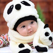 Baby Scarf Hat Set, Warm Velvet Panda Crochet Hoodie Beanie Hat with Attached Earmuffs