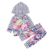 ZHUOTOP Fashion Baby Floral Pant Hoodies Set Children Outfits Clothes