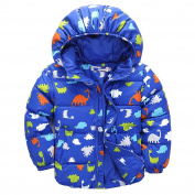 ZHUOTOP Baby Boys Cute Dinosaur Coat Toddler Boy Kids Outerwear Jacket for Fall Winter Royal Blue 5T