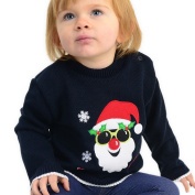 AARDVARK Baby Boys Christmas Jumpers Sweaters Sunny Santa Sizes for Ages 1 to 2 Royal Blue and Navy