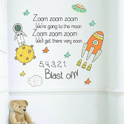 V & C Designs (TM) Zoom Zoom Zoom Quote and Space Themed Nursery Rhyme Quote Wall Sticker Decal Vinyl Mural, Statement Decor, Ideal for any Room of Home, Toddler, Baby Nursery and School