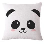 Cartoon Panda Print Linen Square Pillow Case Cushion Throw Cover Home Sofa Decor