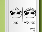 Panda Couple Man Woman Sign Vinyl Wall Decal Home Washroom Office Toilet Baby Room Kids Boys Girls Wall Art Decor