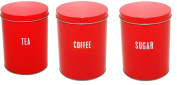 Price & Kensington Red Tea Coffee Sugar Tin Canister Jar Kitchen Canister Sets