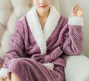 OGTOP Fall And WinterLadies 100% CottonAdults Shawl Collar Bathrobe Dressing Gown Bath Robe Extra Absorbent Towelling Robe,5-OneSize