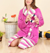 OGTOP 100% Autumn And Winter New Robe Gorgeous Striped Bathrobes,Purple-XL