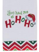 You Had Me At Ho Ho Ho Santa Hat Embroidered Waffle Holiday Kitchen Towel