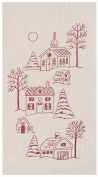 Peaceful Village Holiday Embroidered Kitchen Dish Towel Cotton