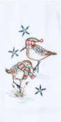 Holiday Sandpipers Embroidered Flour Sack Kitchen Dish Towel
