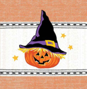Jack O Lantern Pumpkin With Witch Hat Embroidered Kitchen Dish Tea Towel