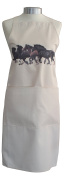 Shire Horses Horse Galloping Equestrian A Natural Cream Cotton Bib Apron - Baker Cook Gift