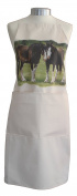 Shire Horses Horse in the Field Equestrian A Natural Cream Cotton Bib Apron - Baker Cook Gift