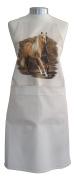 Golden Horses Horse Galloping Equestrian A Natural Cream Cotton Bib Apron - Baker Cook Gift