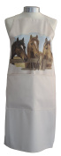 Horses Horse at the Fence Equestrian A Natural Cream Cotton Bib Apron - Baker Cook Gift