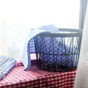 XZX Home Plaid Table Mats Cotton Napkin 4pcs , small sky blue