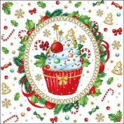 Ambiente Paper Napkins Lunch / Party / ca. 33x33cm Decorated Cupcake - Christmas - Ideal As A Gift And Decoration