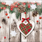 Ambiente Paper Napkins Lunch / Party / ca. 33x33cm Scottish Heart - Christmas - Ideal As A Gift And Decoration