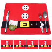 WOSON 4pcs Non-woven Christmas Placemats Dining Table Mats Covers with Cutlery Holder Christmas Party Table Decorations