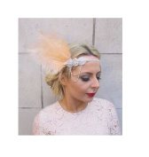 Starcrossed Boutique Champagne Light Peach Silver Feather Headpiece 1920s Headband Flapper 1930s 4278
