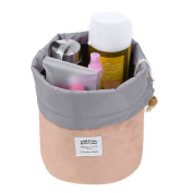 Pretty See Waterproof Makeup Barrel Bag Portable Cosmetic Barrel Bags Multi-functional Travel Bucket Toiletry Organiser with Drawstring and 3 Mesh Pockets, Suitable for Both Home and Travel, Pink