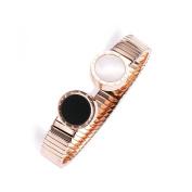 Plated 18k Rose Gold Bracelet, Women's Open Adjustable Titanium Steel Bracelet, Suitable for Hand Circumference 13.5-16cm