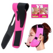 Risingmed V Face Line Belt Chin Cheek Slim Lift Up Anti Wrinkle Mask Ultra-thin Strap Band V Face Line Belt Strap Band-Red Breathable
