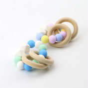 Best for baby Silicone teething Wooden ring Bracelet Silicone Beads Baby Teether Wooden teether Intelligence toys