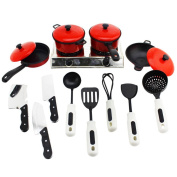 TOYMYTOY 13pcs Play Kitchen Utensils Pots Stove Cooking Food Fun Cookware for Kids