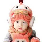 Yiwa Baby Girls Boys Winter Faux Plush Warm Cap Beanie Pilot Aviator Earflap Hats + Scarf