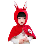 Yiwa Lovely Cute Children Kids Warm Collar Baby Rabbit Ears Knitted Hat Shawl Cap